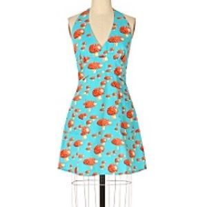 ANTHROPOLOGIE blue and orange mushroom print apron
